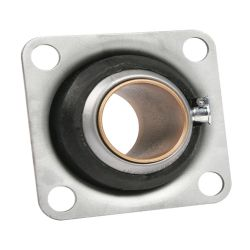 """Sintered Bronze with Stamped Steel Ball 4 Bolt Flange Bearing, 16 Gauge  - 1  1/4 """", part number 3668, FE Series, primary image"""