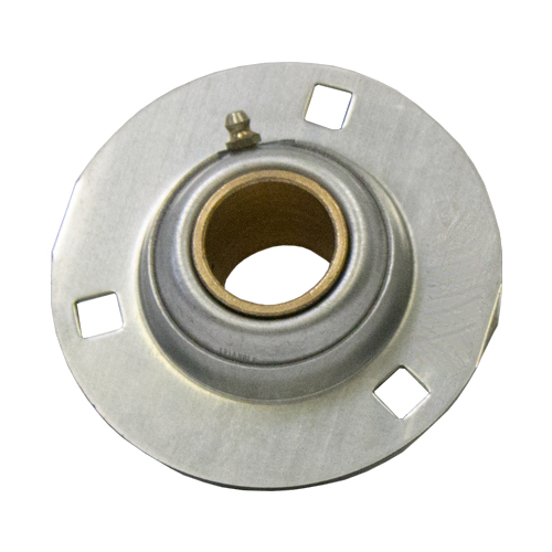 Stamped Steel Bearing Ball Sintered Bronze Bushing 3 Bolt Flange Bearing, 14 Gauge - 1 1/4""