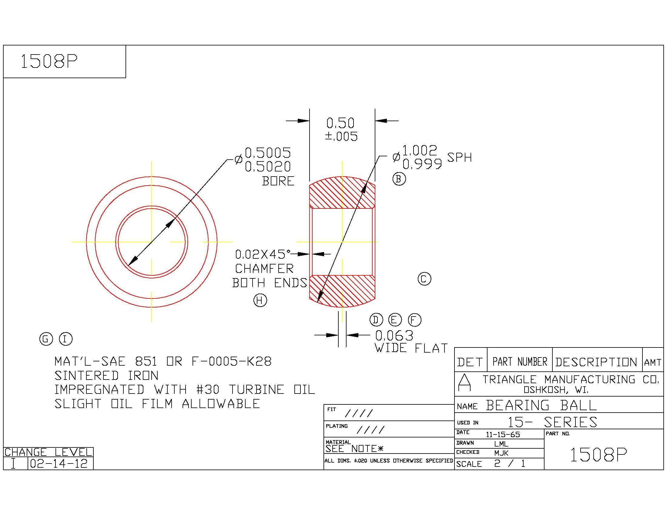 Spherical Plain Bearing 1508P