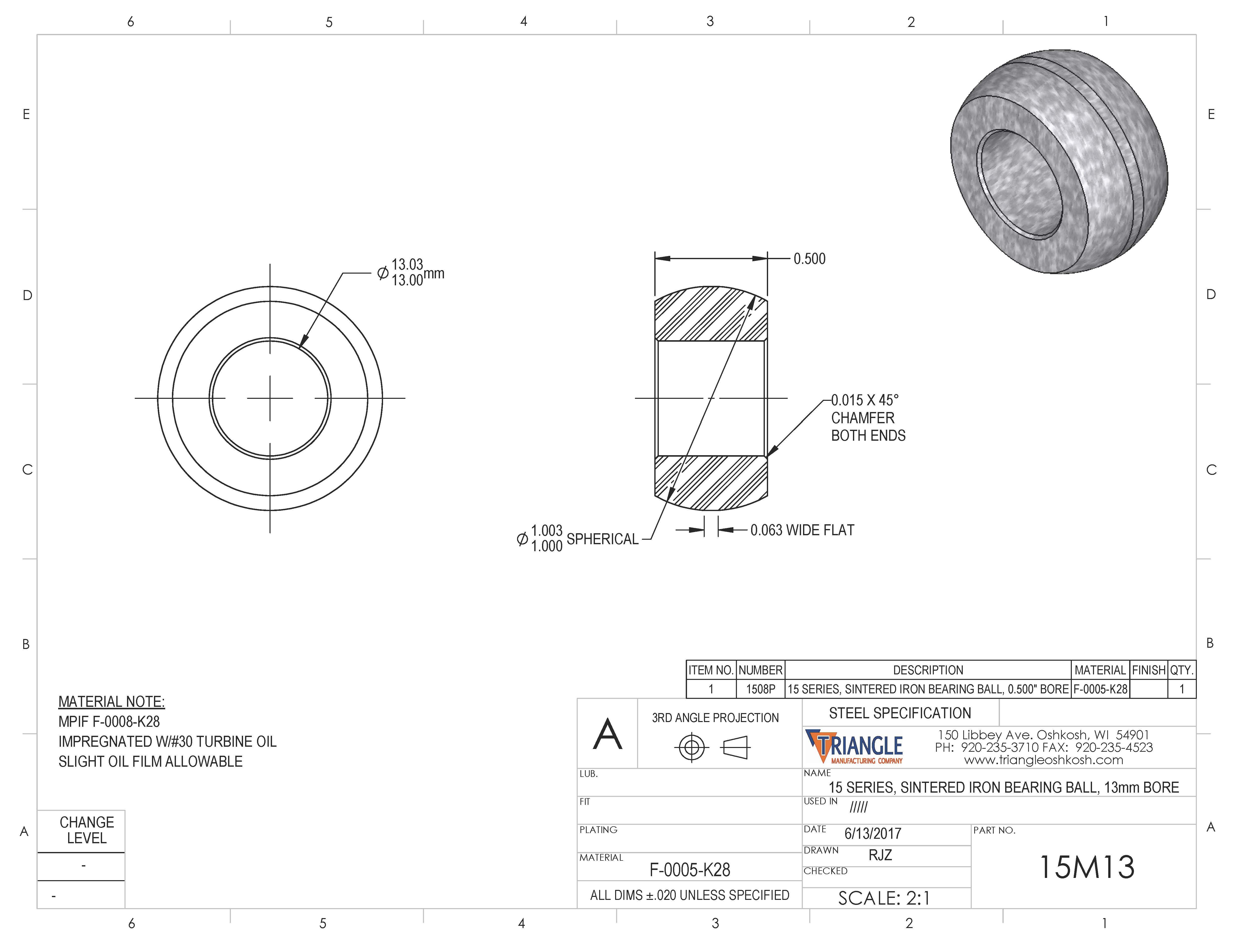 Spherical Plain Bearing 15M13