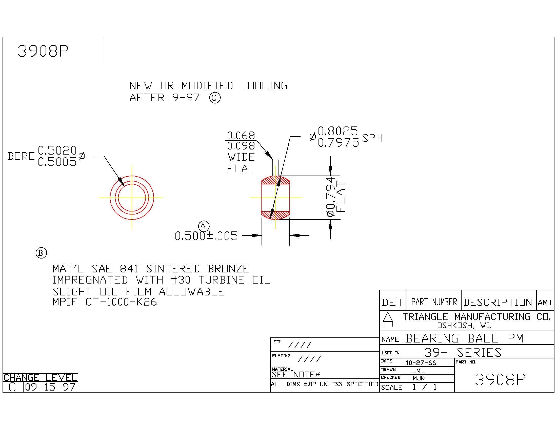 Spherical Plain Bearing 3908P