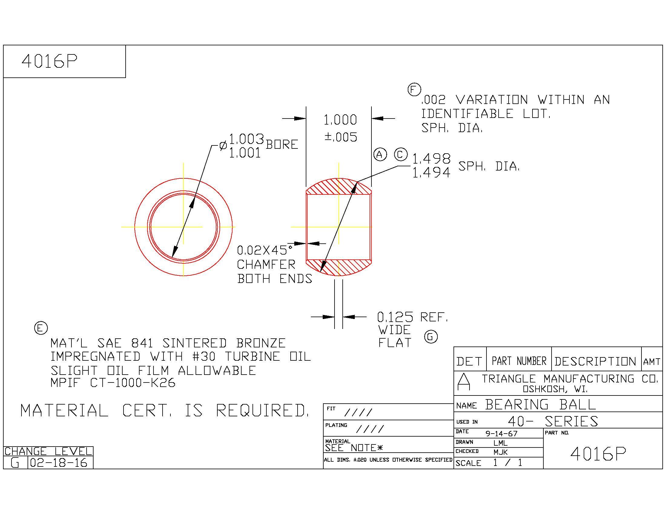 Spherical Plain Bearing 4016P