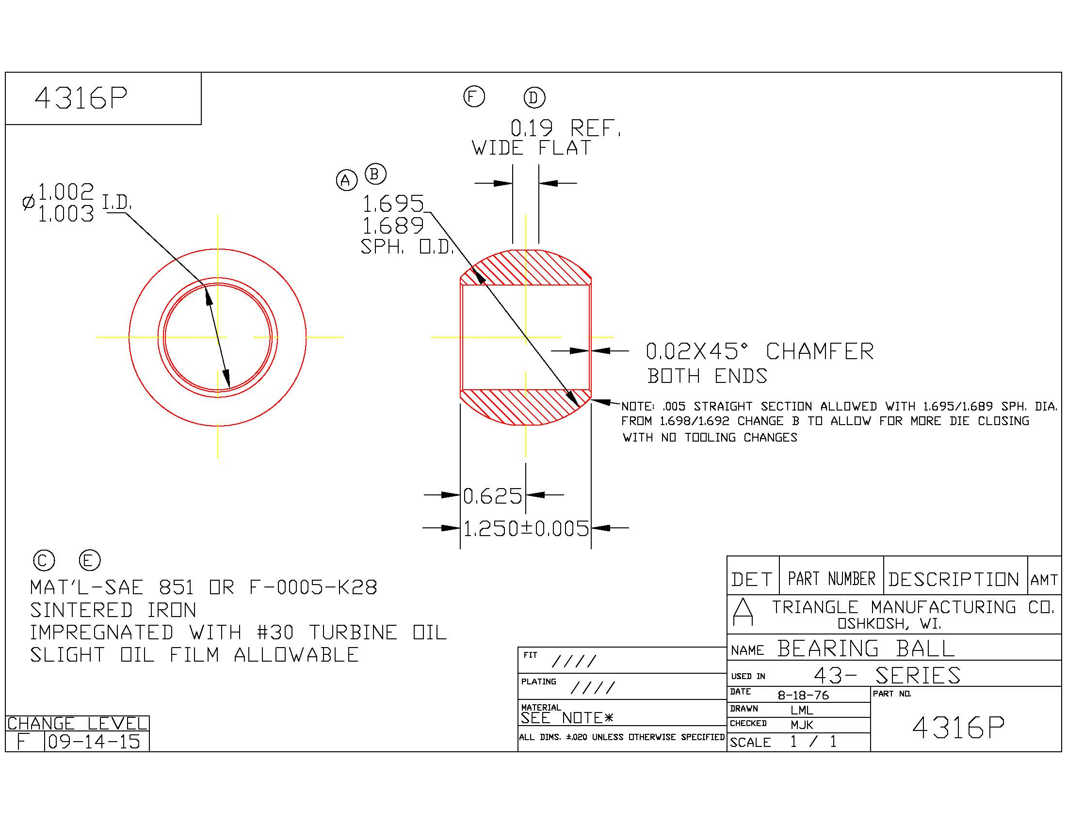 Spherical Plain Bearing 4316P