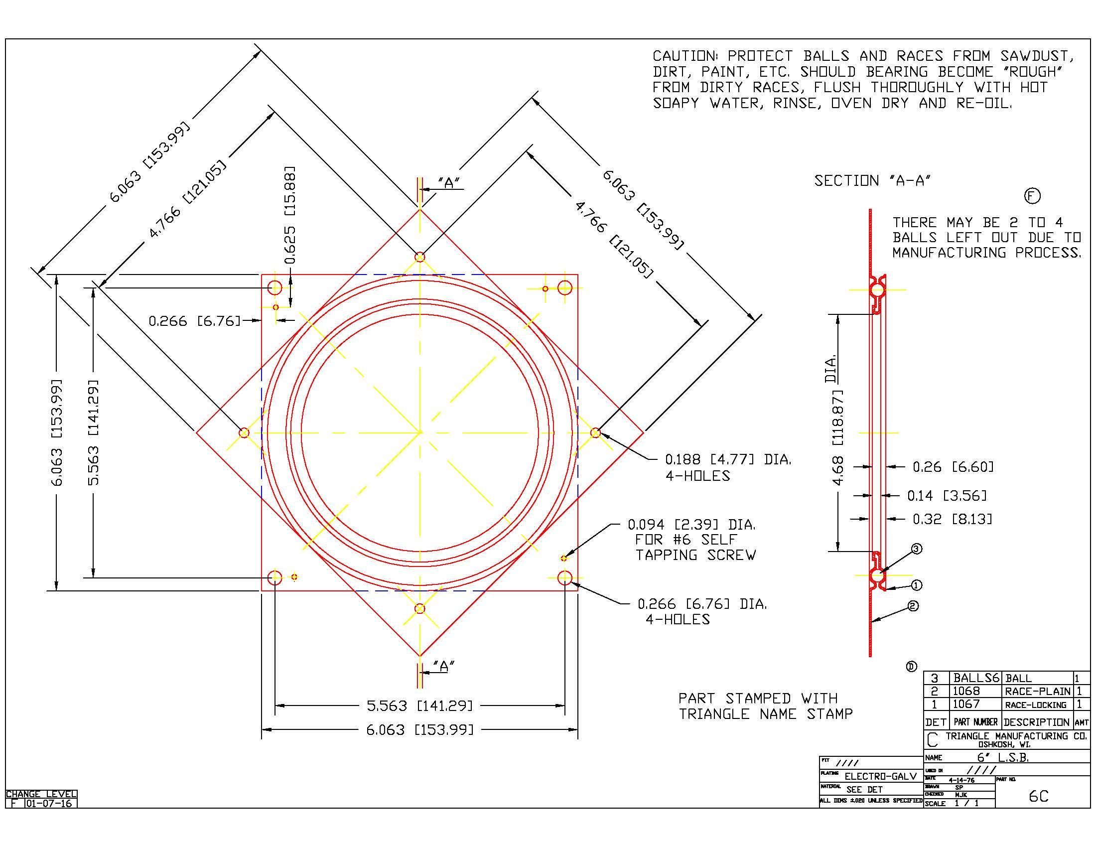 Galvanized Steel Square Lazy Susan Turntable Bearing, 22 Gauge  - 6