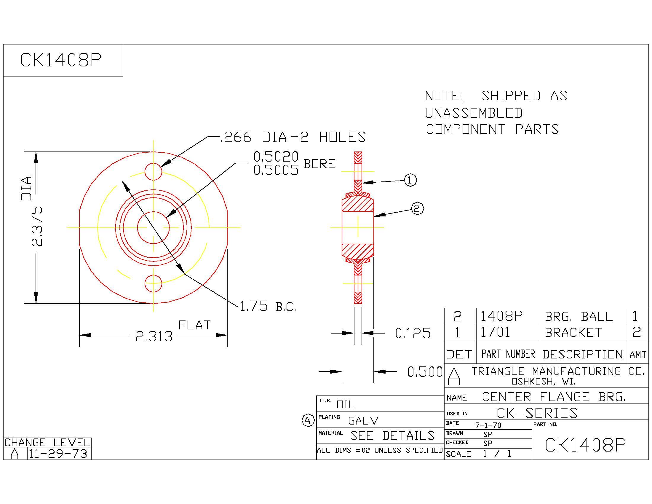 Flange Bearing CK1408P