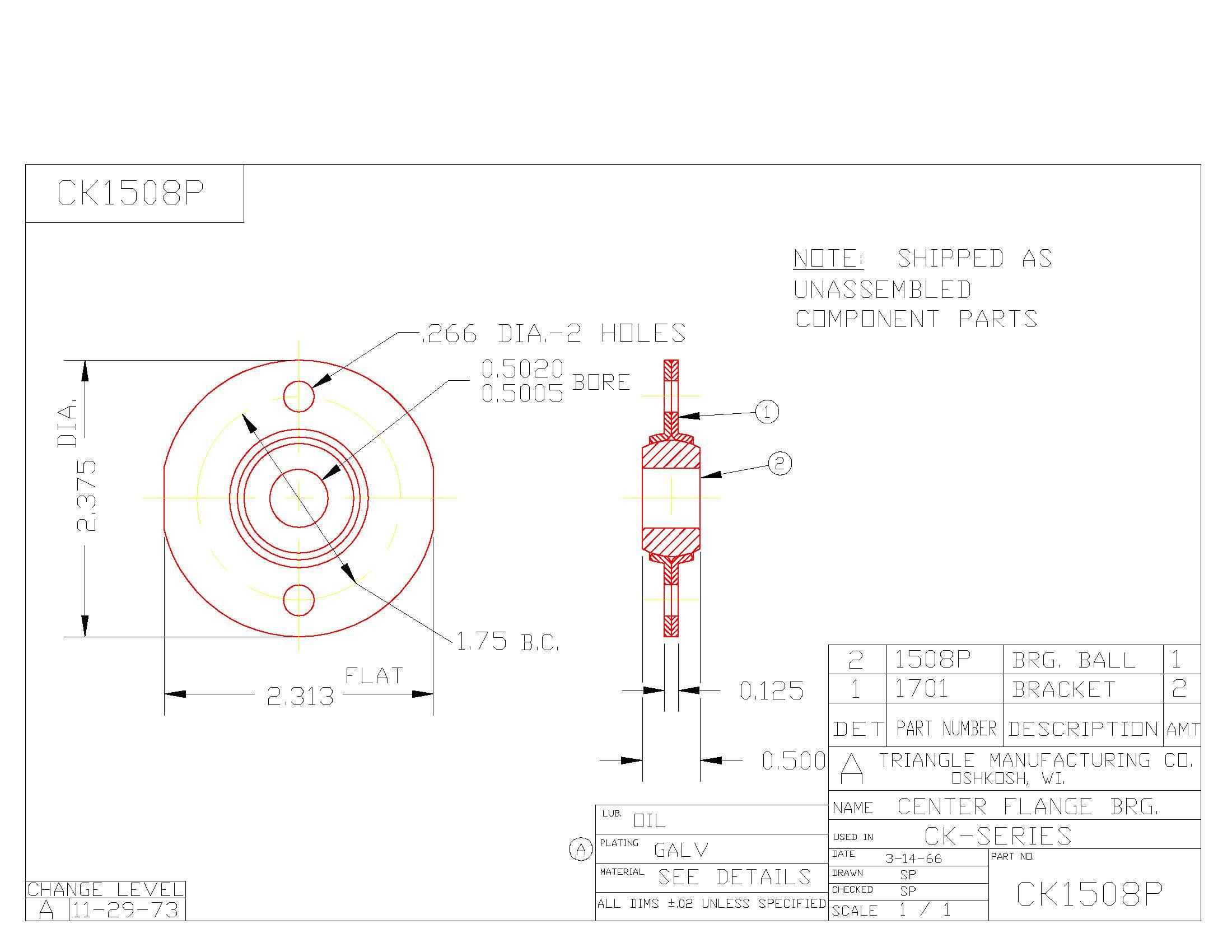 Flange Bearing CK1508P