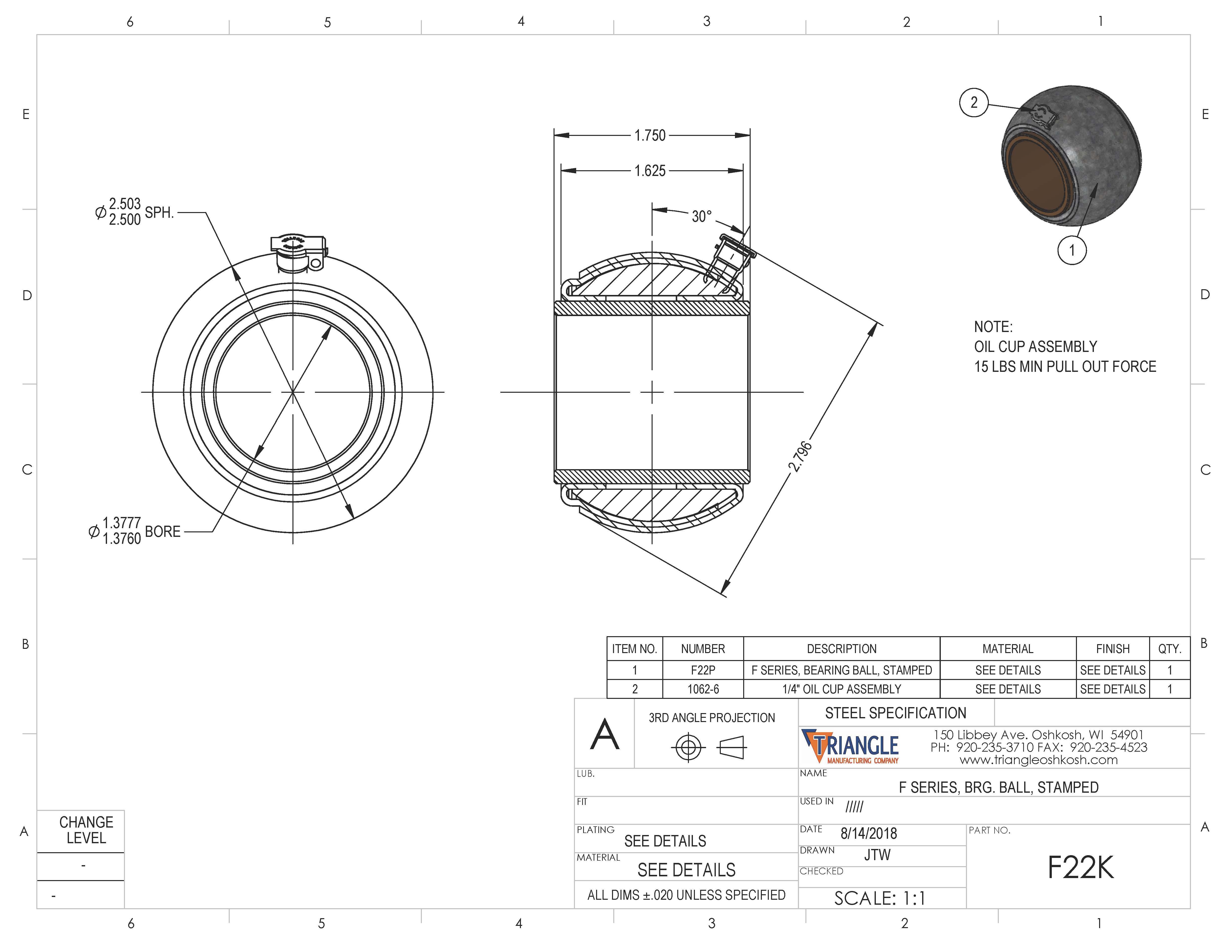 Spherical Plain Bearing F22K