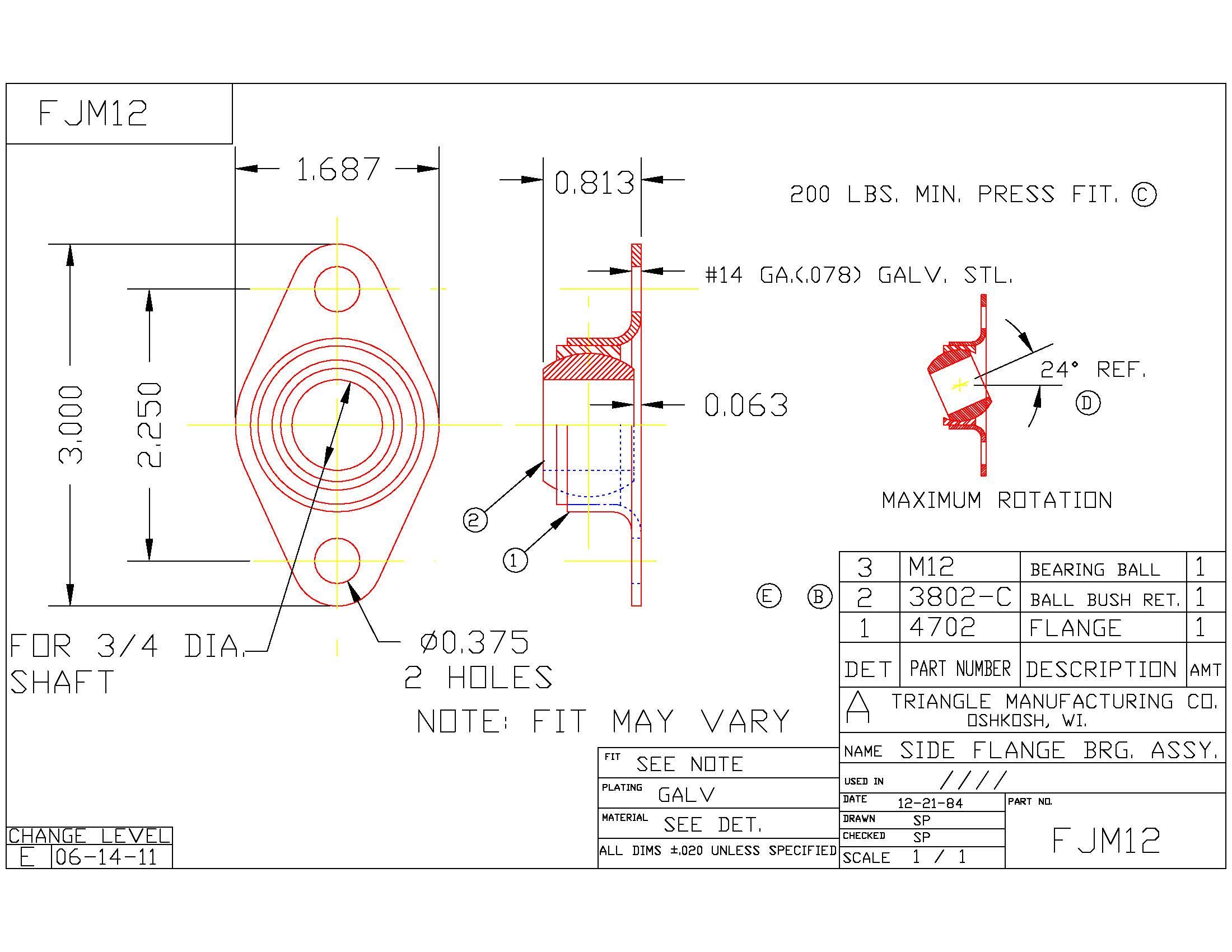 Flange Bearing FJM12