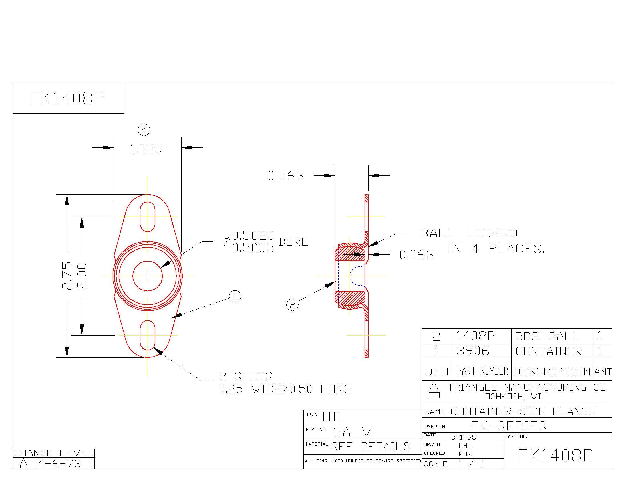 Flange Bearing FK1408P