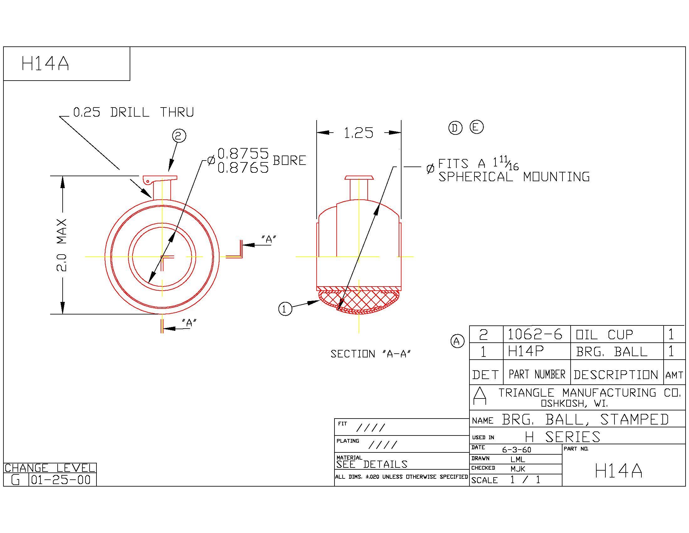 Spherical Plain Bearing H14A