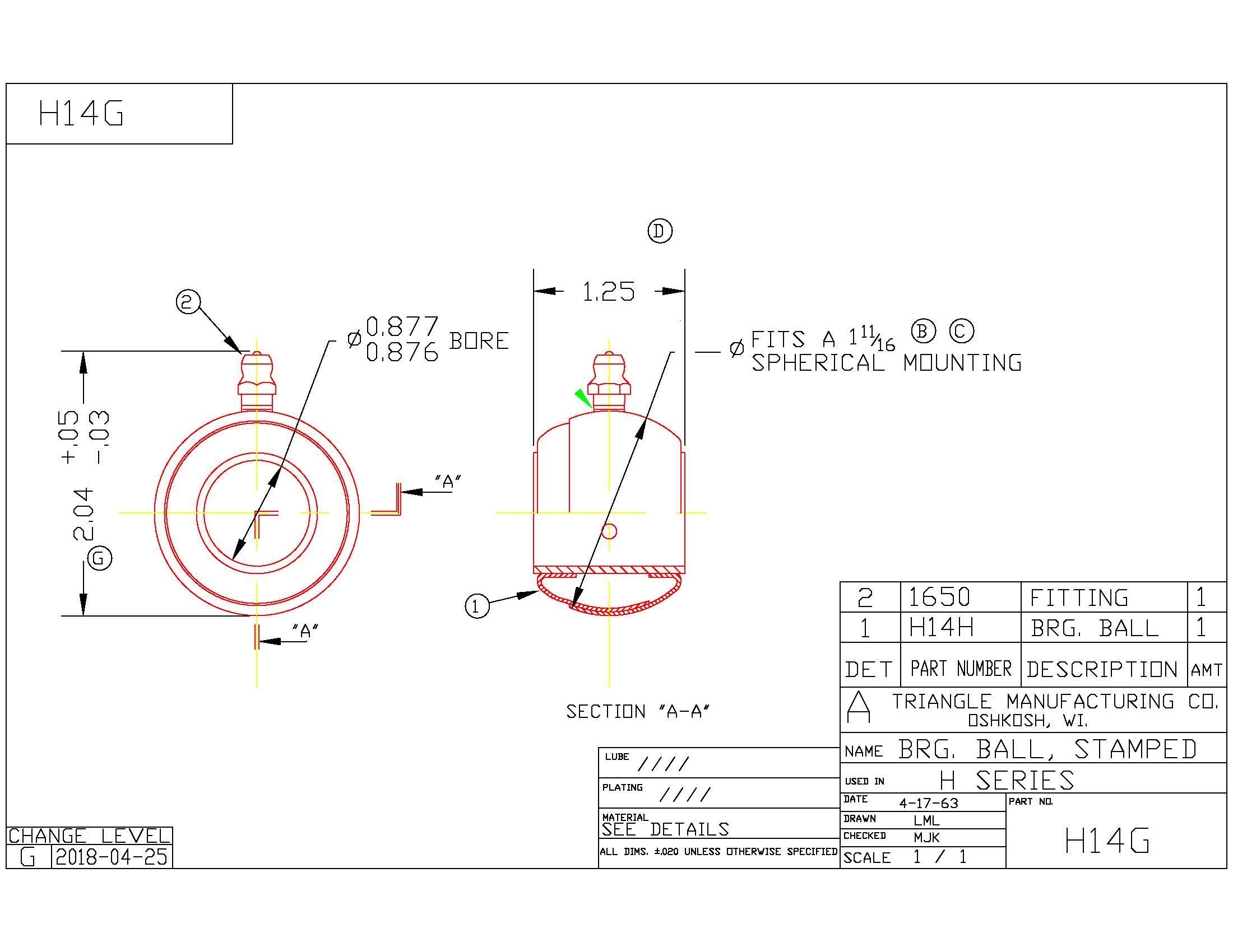 Spherical Plain Bearing H14G