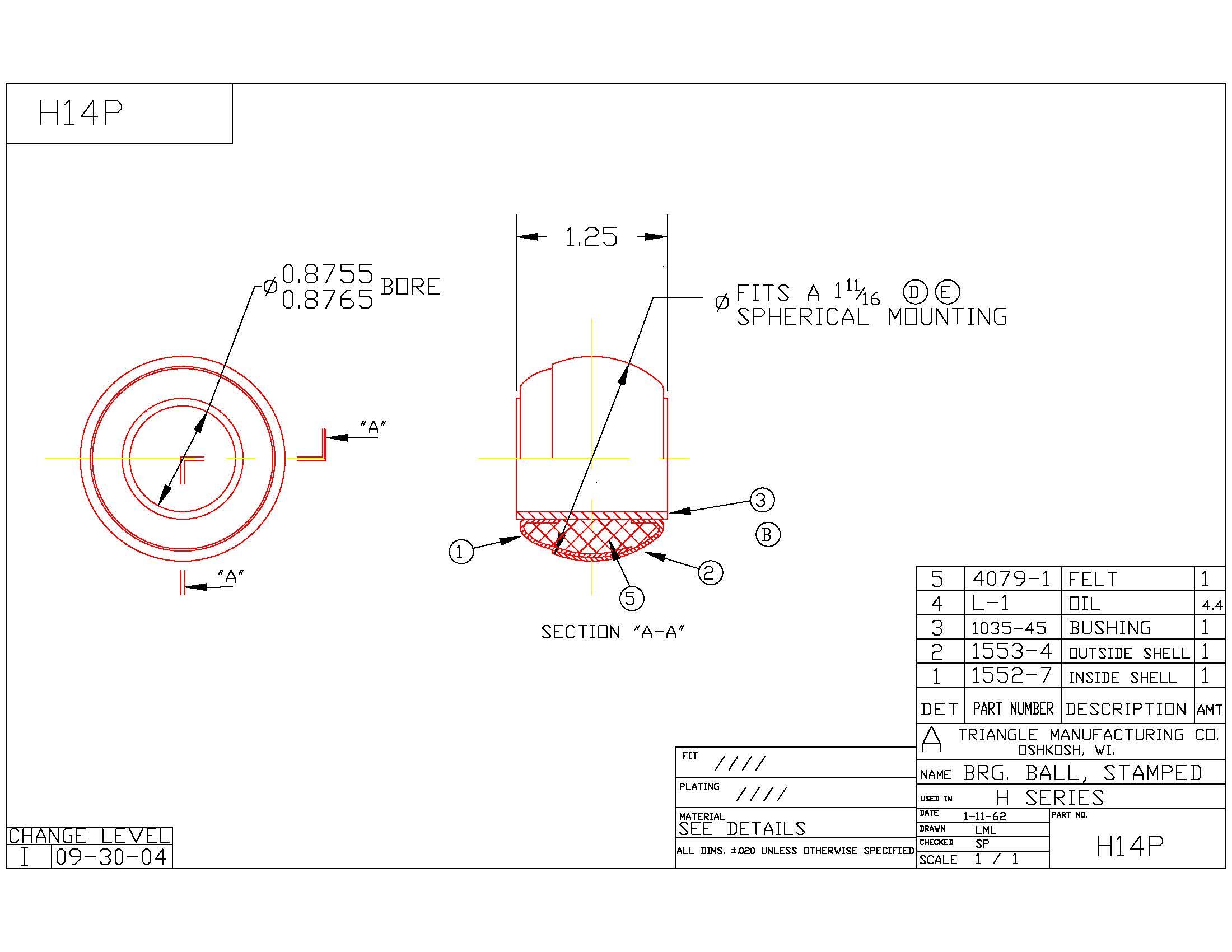 Spherical Plain Bearing H14P