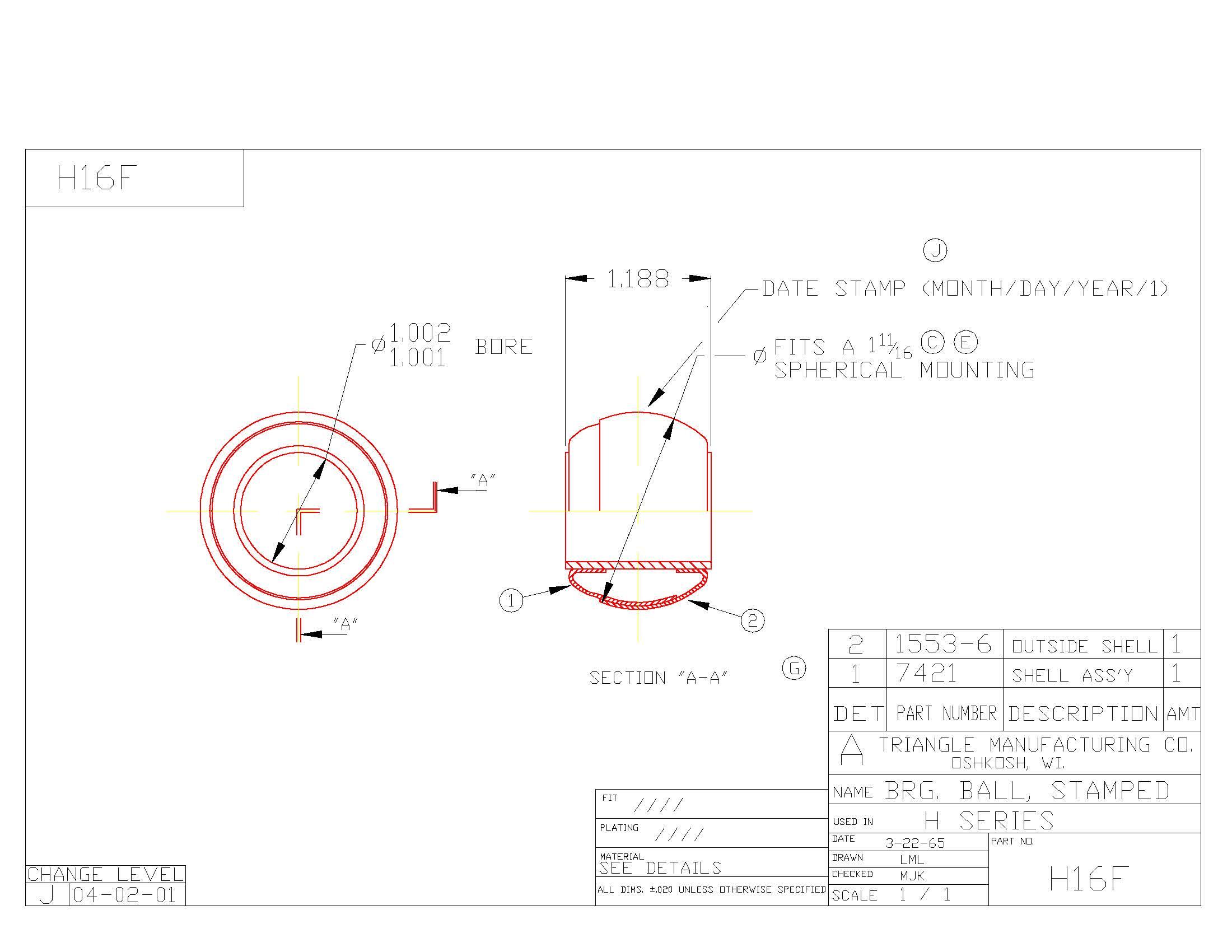 Spherical Plain Bearing H16F