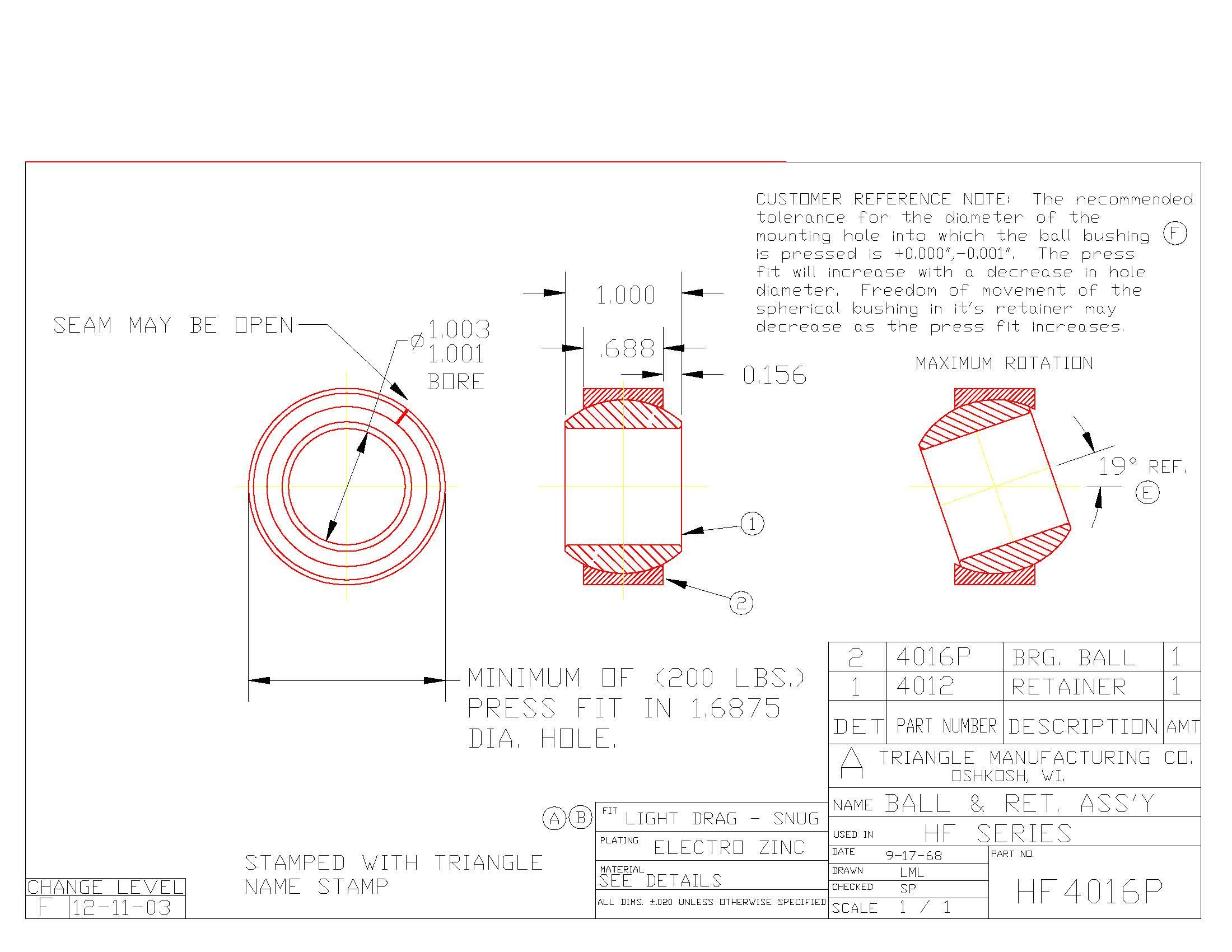 Spherical Plain Bearing HF4016P