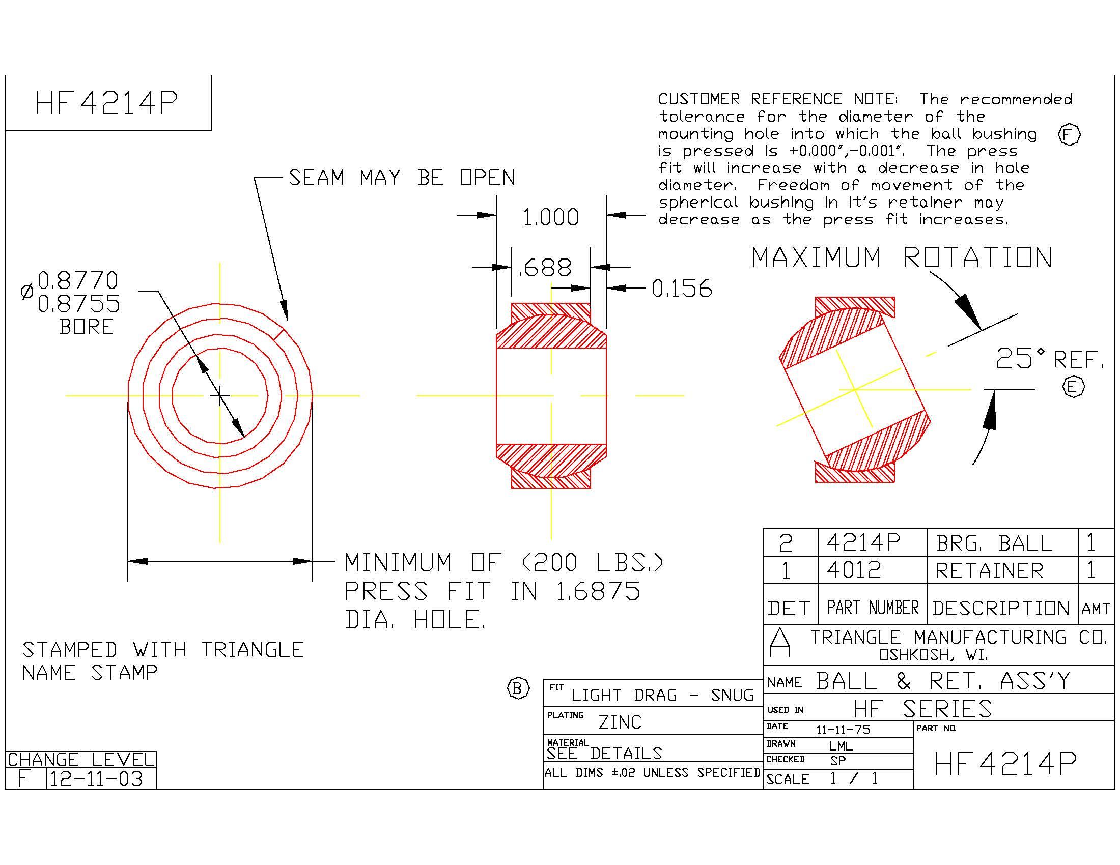 Spherical Plain Bearing HF4214P