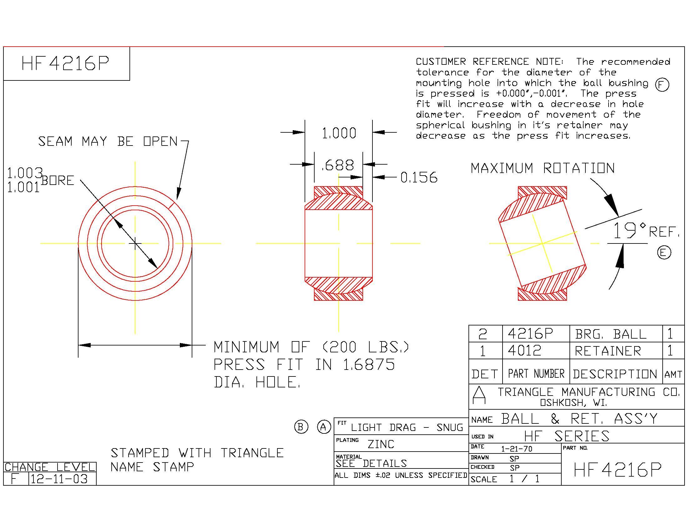 Spherical Plain Bearing HF4216P