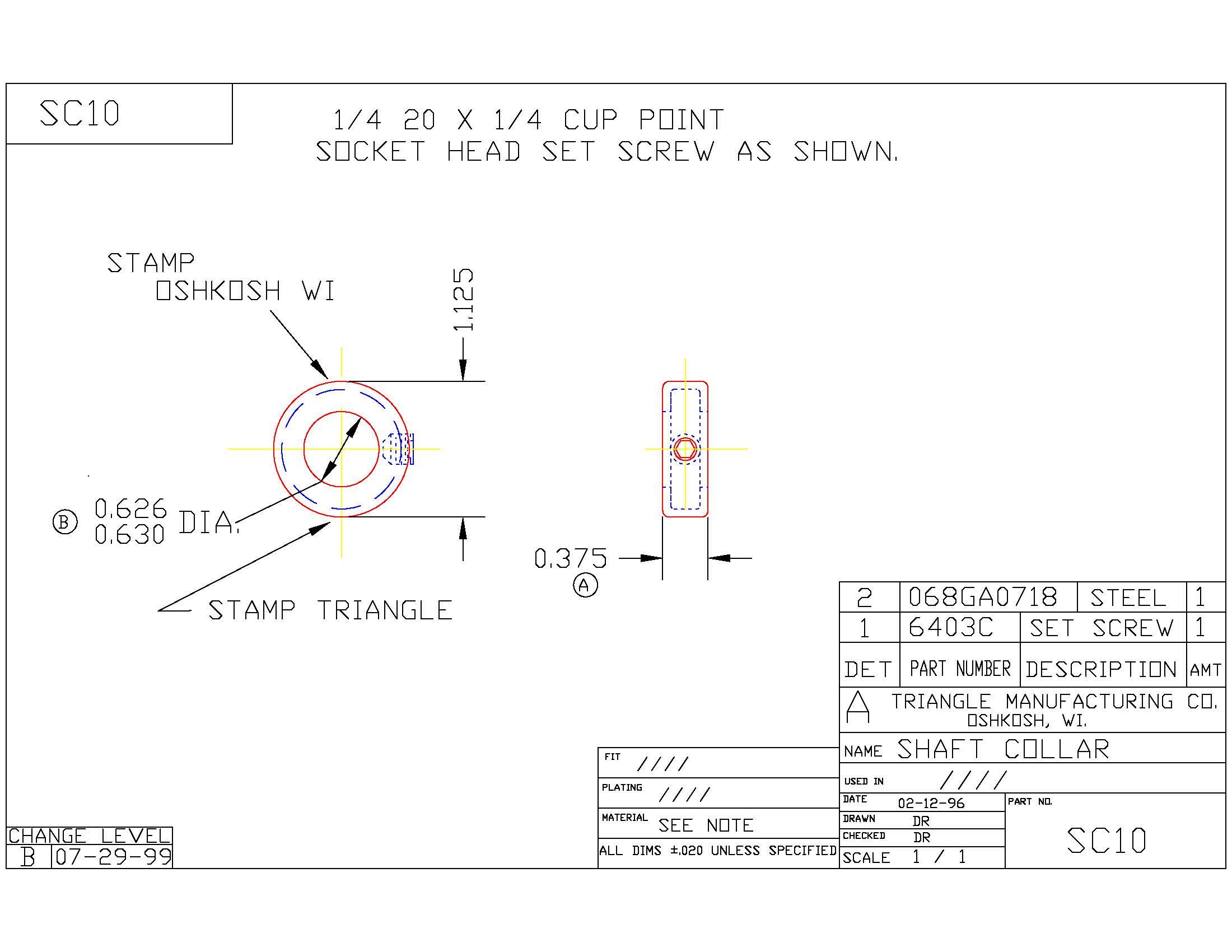 Set Screw Shaft Collar SC10
